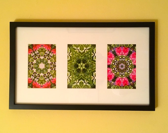Garden Party Triptych,  Brighten Any Room with these Vibrant Original Designs, Mount Vertically or Horizontally