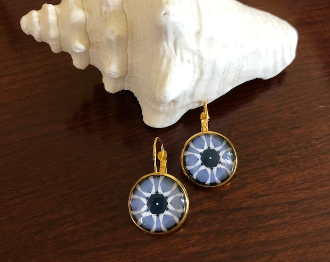Summer Storm Earrings, Original Design on Gold-Plated Lever Back Base, Bold Details in Blues & Whites, Beautiful to Gift or Keep!