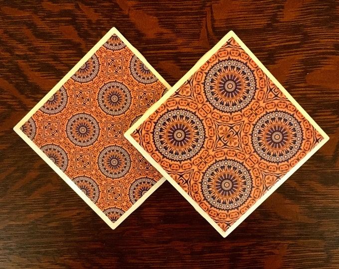 """Coasters, 2 Pc set, 4.25"""" Square Ceramic Tiles w/Cork Back, Handcrafted from Photo of Papal Swiss Guard, Vatican City"""