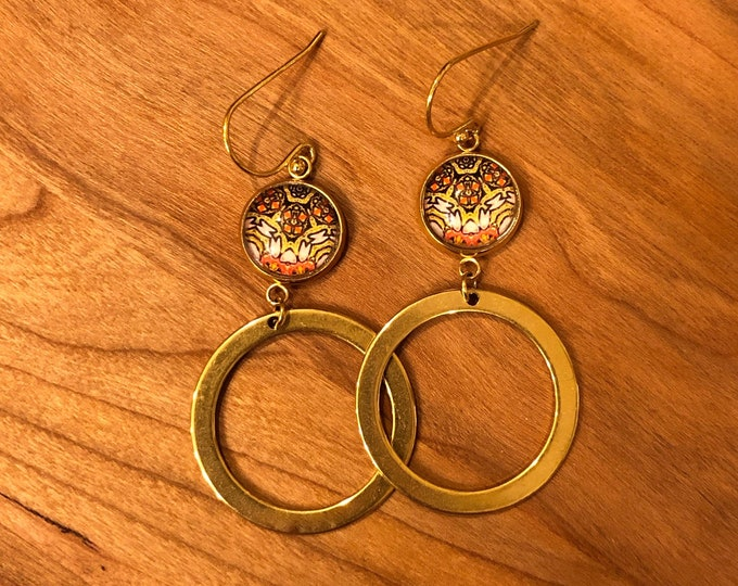 Glass & Gold Hoops Earrings, Intricate Design Created from Original Photo of Artists of the Wall 2019 Mural, Beautiful to Gift of Keep