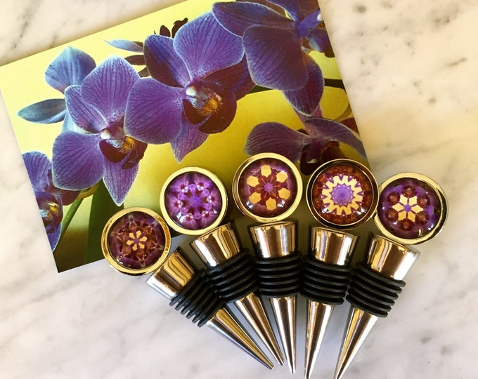Vibrant Wine Stoppers, Original Designs Set on Stainless Steel Base, See 2nd Photo for Options, Unique Housewarming, Host Gift