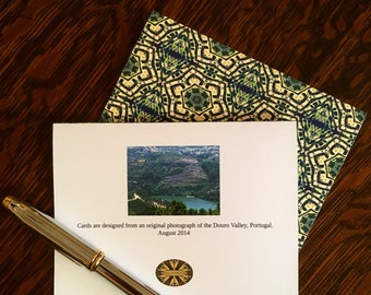 Note Cards & Envelopes, Handcrafted Set of 8, Original Design from Photograph of the Douro Valley in Portugal
