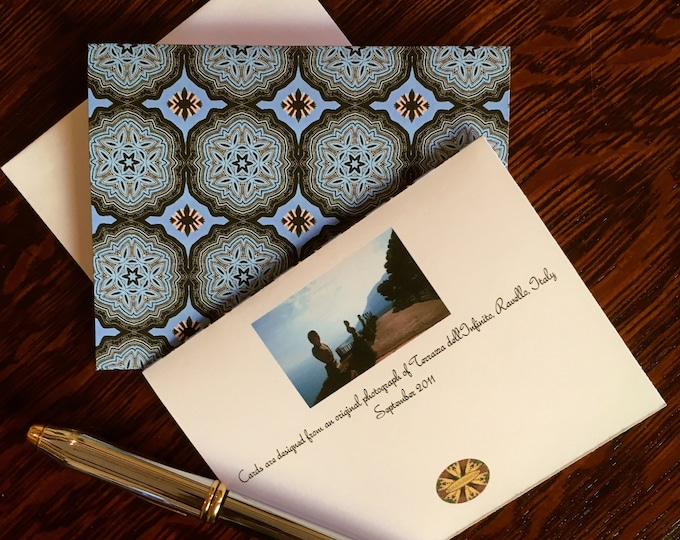 Note Cards & Envelopes, Handcrafted Set of 8, Original Design from Photo of the Terrazza dell'Infinito, Villa Cimbrone, Ravello, Italy