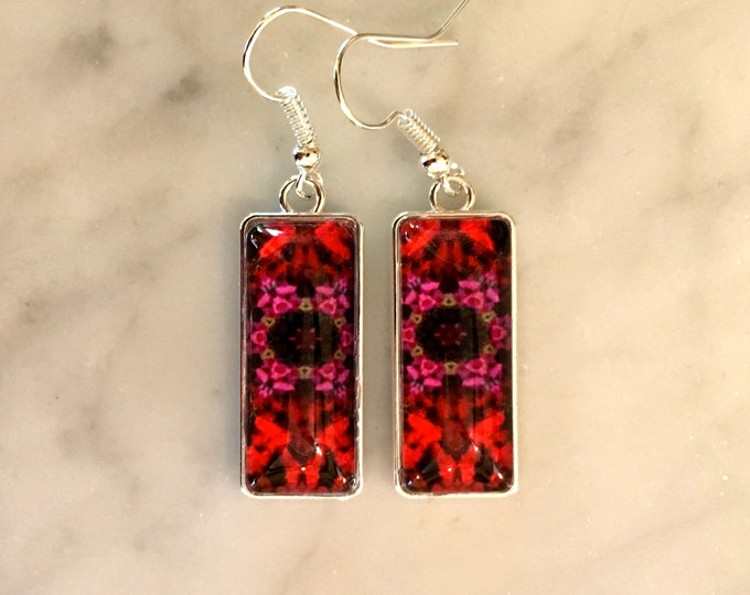 "Striking Rectangular Dangling Earrings with Vibrant Original Design, Drop 1.5"" overall, 1"" Charm"