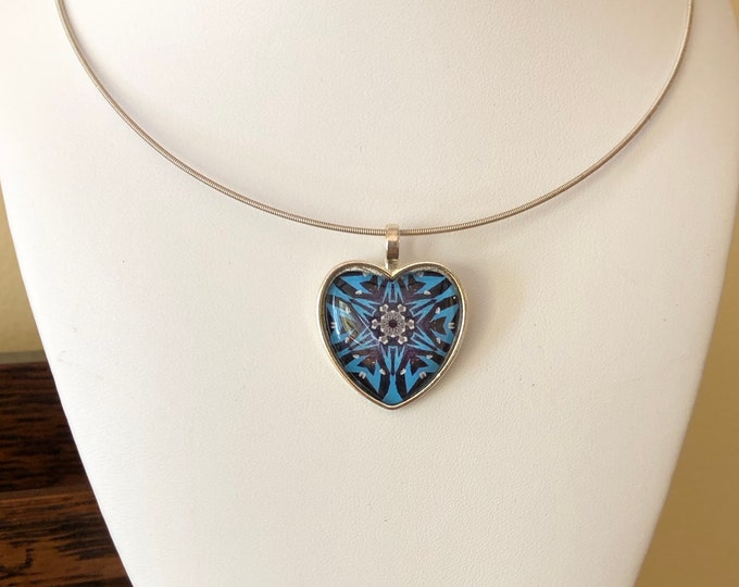 Parrot Glass & Silver Heart Pendant, Designed from Original Photo of Artists of the Wall 2019 Mural, Chicago, Beautiful to Gift or Keep!