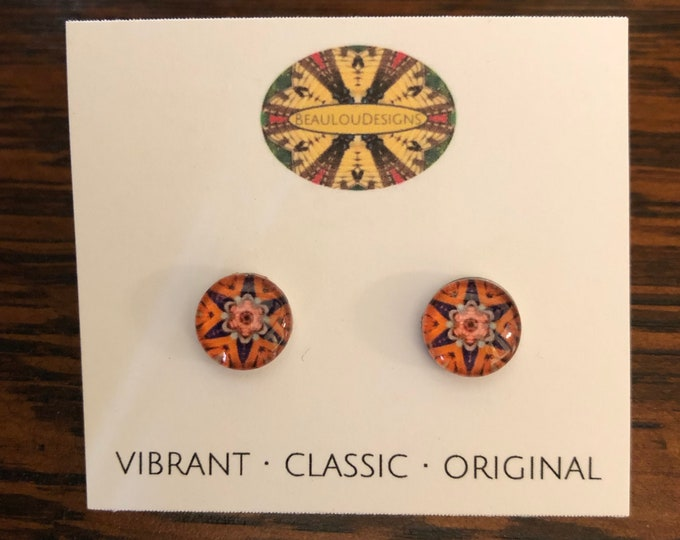 "Swiss Guard Stud Earrings, .40"" Glass Cabochons with Bold, Vivid, Original Designs, Beautiful Gift!"