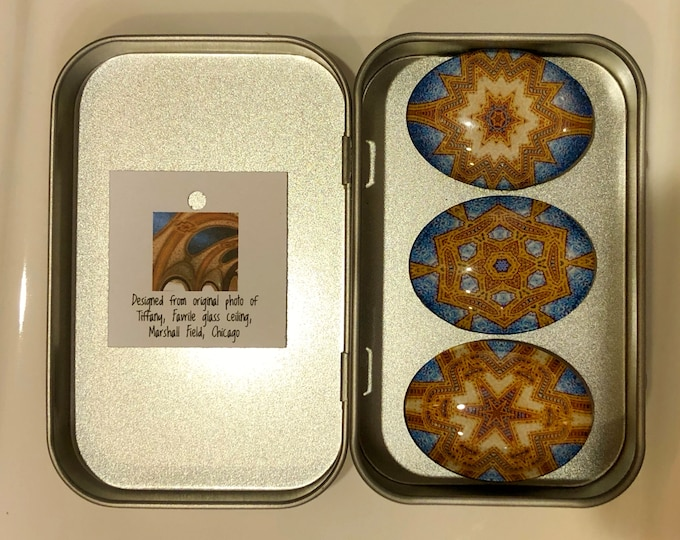 Tiffany Dome Glass Magnets, Set of 3, Perfect for Kitchen, Cubicle, Message Board, Designed from Photo of Marshall Field's Tiffany Dome