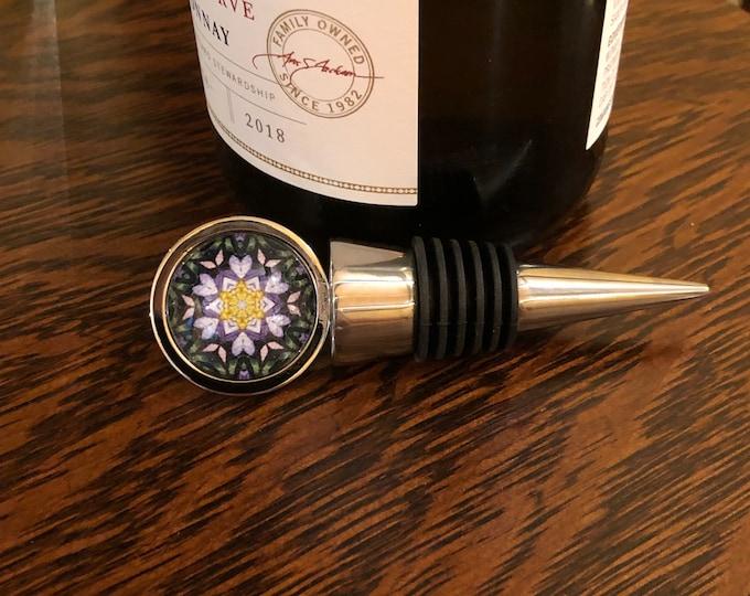 Ultraviolet Wine Stopper, Original Design Set on Food Grade, Stainless Steel Base, Unique Housewarming, Host Gift
