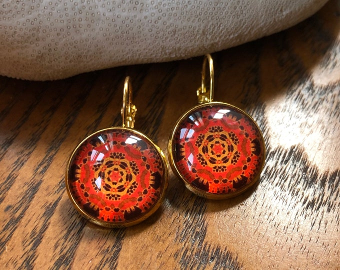 Autumn Lace Earrings, Original Design on Gold-Plated Lever Back Base, Intricate Details in Reds & Golds, Beautiful to Gift or Keep!