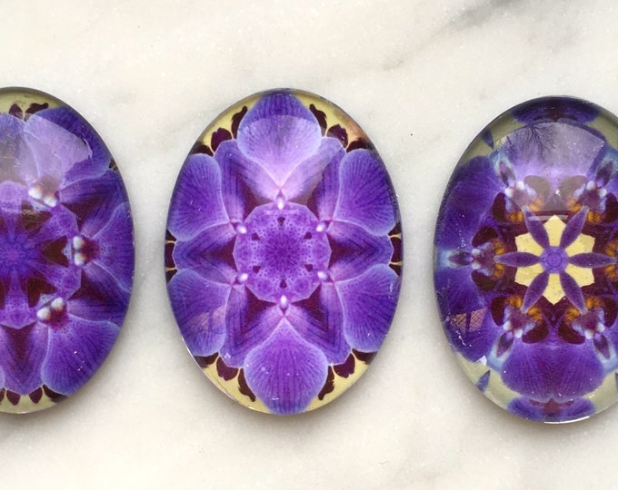 """Purple Orchid Glass Magnets, Set of 3, 1.5"""" x 1"""" Oval / Egg Magnets"""