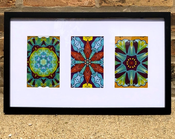 Chicago Street Art Inspired Triptych, Brighten Any Room w/these Vibrant Original Designs Created from Original Photos of Chicago Streeet Art