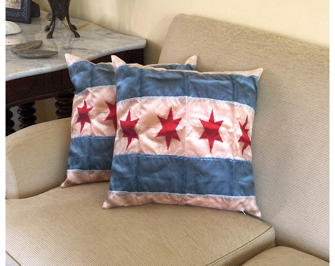 Chicago Flag Throw Pillow, Fun & Colorful Addition to Your Home or Home Office,  Bold Details in Red, White and Blue