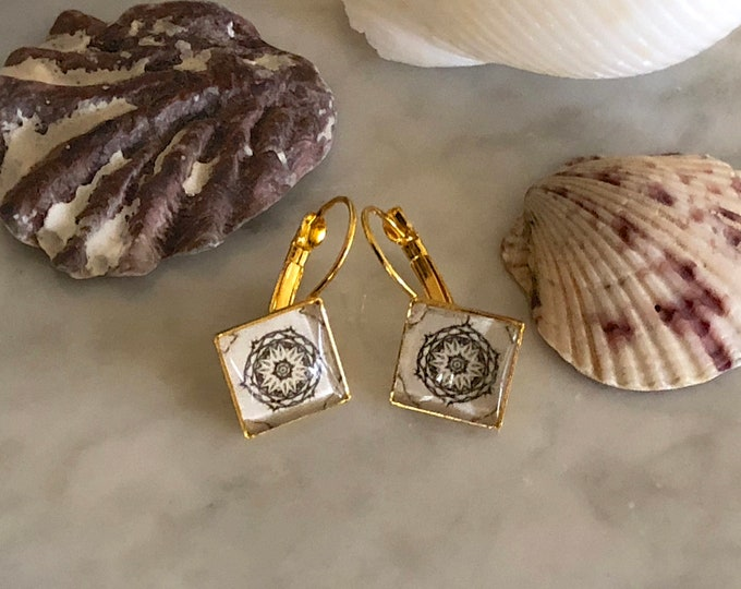 Serenity Earrings, Original Design on Diamond Shaped, Gold-Plated Lever Back Base, Intricate Details in Shades of Ivory and Gray