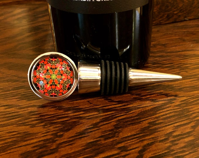 Happy Holidays! Wine Stopper & Charms, Original Designs Set in Glass on Stainless Steel Base, Beautifully Packaged in Velvet Bag