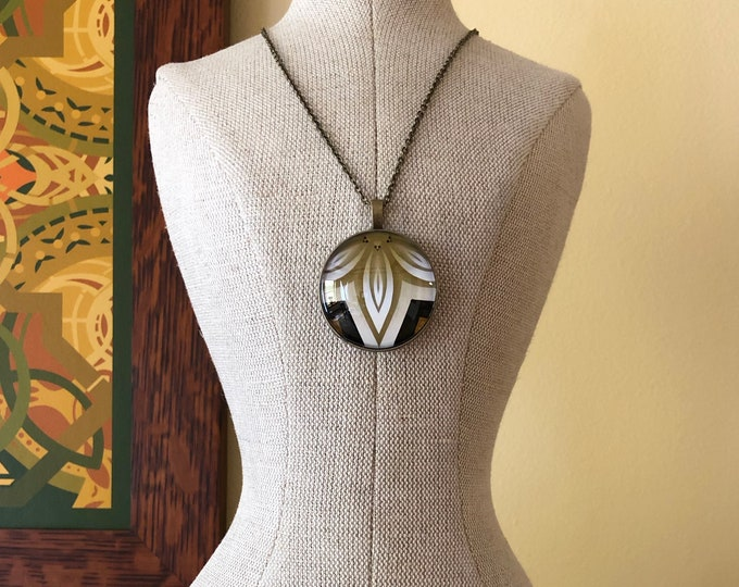 "Sintra Pendant, Bold, Classic Design Set in Glass with 18"" Bronze Necklace"