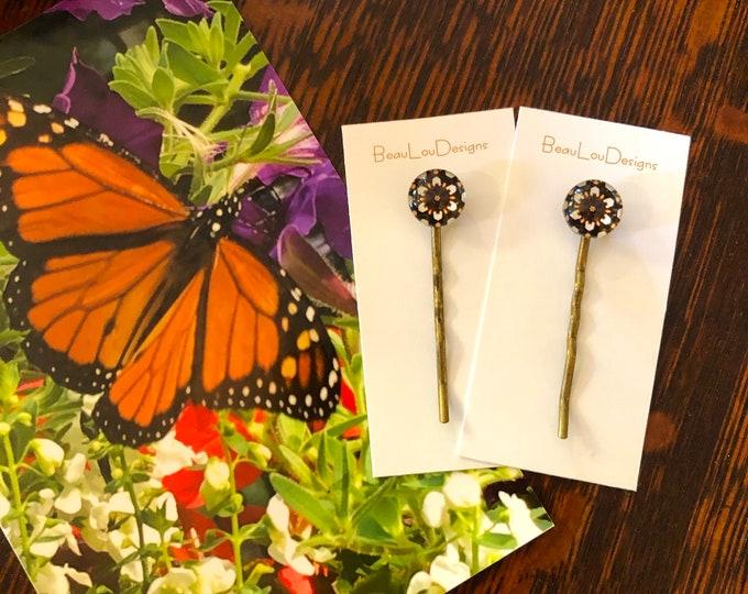 Glass & Brass Hair Pins, Original, Vibrant Design, Price is Per Pair