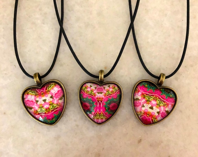"""Wear Pink Hearts, 1"""" Glass and Bronze Heart-shaped Pendants, Pink and Green Jewel Tones, 3 Options to Choose From, Or Buy All 3!"""