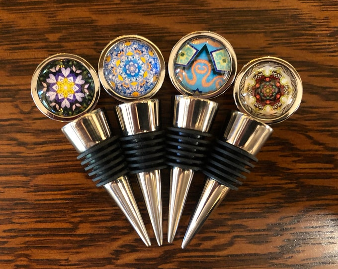 Street Art Wine Stoppers, Original Designs Set in Glass on Food Grade, Stainless Steel Base, Unique Housewarming, Host Gift