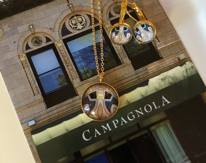 Campagnola Pendant & Earring Set, Classic Design Set in Glass, Buy as Set or Separates, Statement Pieces
