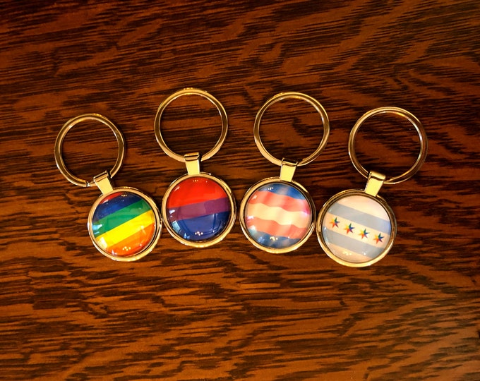Show your Pride with LGBTQ Pride Flag Key Rings on Stainless Steel Base, 4 Designs to Choose from, Great to Gift or Keep!
