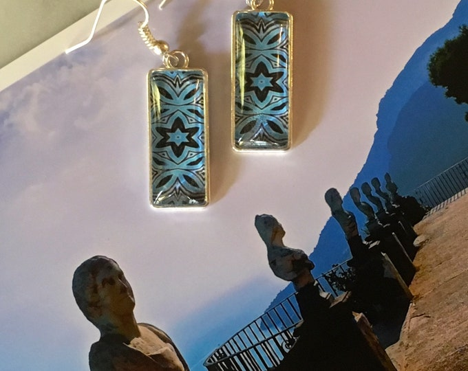 """Striking Rectangular Dangling Earrings with Vibrant Original Designs, Drop 1.5"""" overall, 1"""" Charm"""