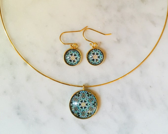 Pendant & Earring Set, Classic Design Set in Glass, Buy as Set or Seperates, Statement Pieces