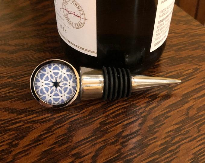 Vibrant Wine Stopper, Original Design Set on Food Grade, Stainless Steel Base, Unique Housewarming, Host Gift