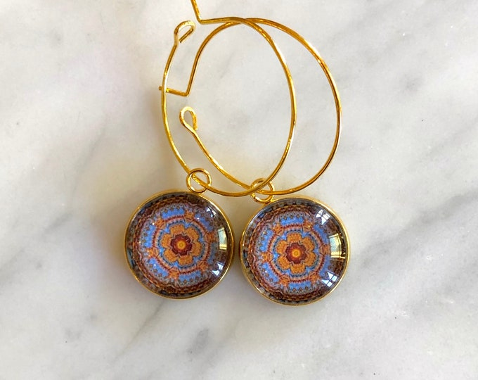 "Intricate, ""Tapestry"" Design on Glass Cabochon set on Gold-Plated Steel, Choose Hoop or French Hook"