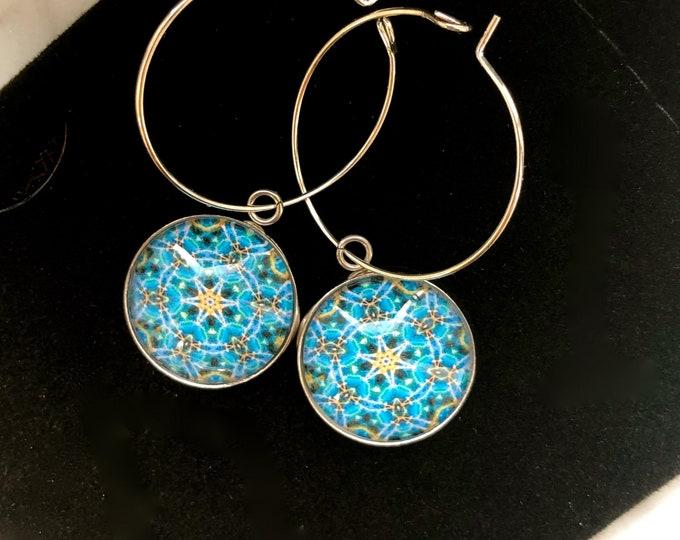 """Bright, Geometric Hoop Earrings,  Original Designs set in Glass on Stainless Steel base with 1"""" Sterling Silver Hoop"""