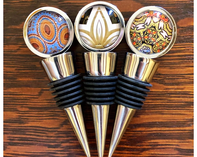 Wine Stoppers, Original Designs Set on Stainless Steel Base, Unique Housewarming, Host Gift