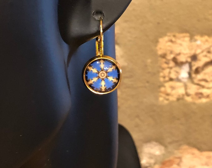 Night in Salamanca Earrings, Original Design on Gold-Plated Lever Back Base, Bold Details in Blue and Gold, Beautiful to Gift or Keep!