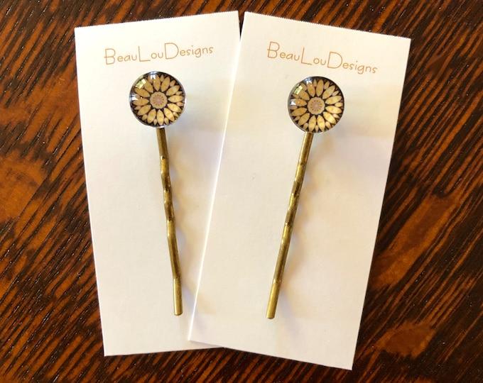 Glass & Brass Hair Pins, Original, Elegant Design, Price is Per Pair