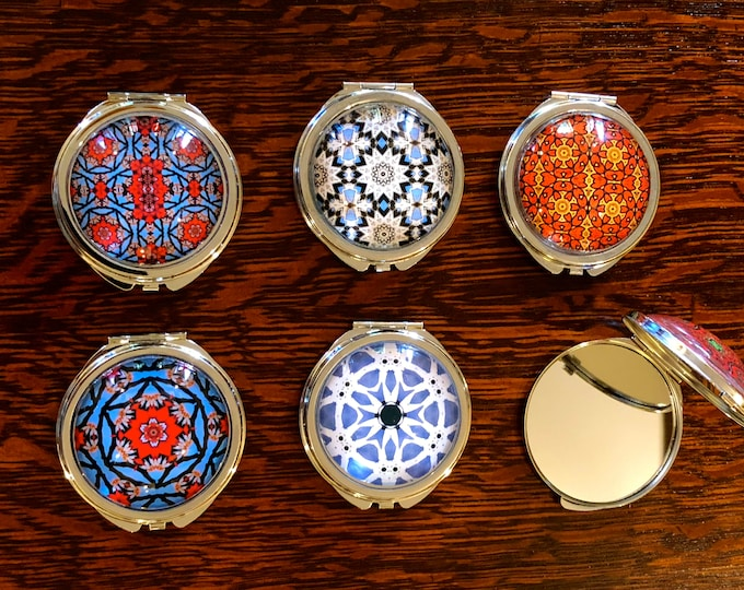 Mirrored Compacts with Vivid, Original Designs Set on Steel Base, Functional and Fabulous