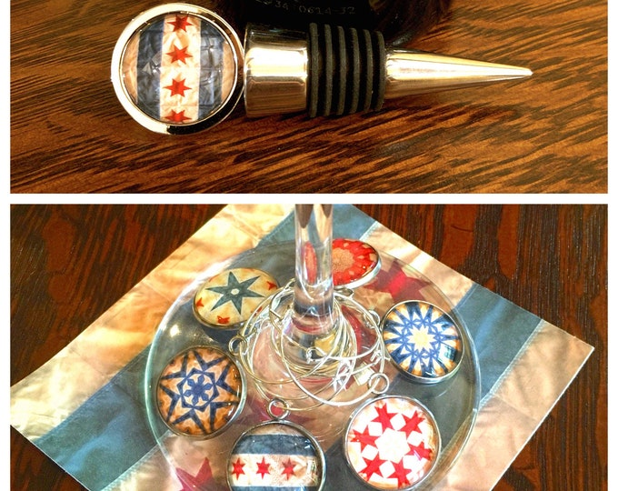 Wine Stopper & Charms of the Windy City, Original Designs Set in Glass on Stainless Steel Charm, Unique Housewarming, Host Gift