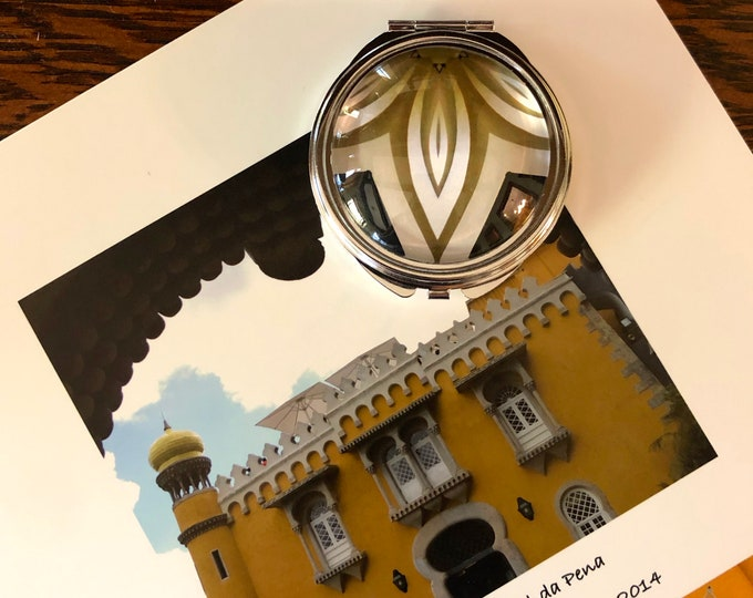 Compact Mirror with Vivid, Original Designs Set on Steel Base, Functional and Fabulous