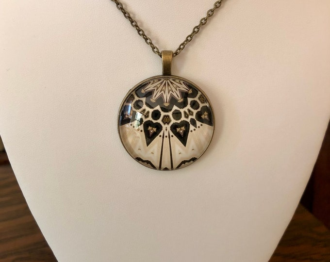 """In Balance, 1.25"""" Glass and Bronze Pendant, Sophisticated Design, Stunning Gift"""