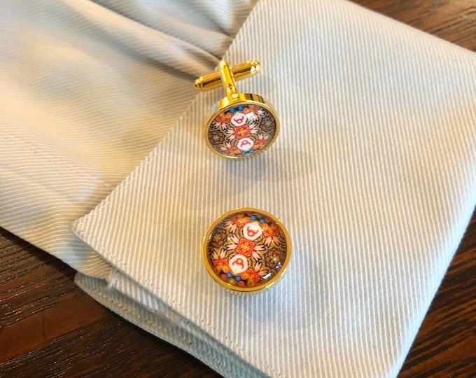 """Bold Cuff Links, Original Designs set in Glass in Brass Cuff Links, 5/8"""" Diameter, Packaged in Black Gift Box, Perfect to Give or Keep!"""