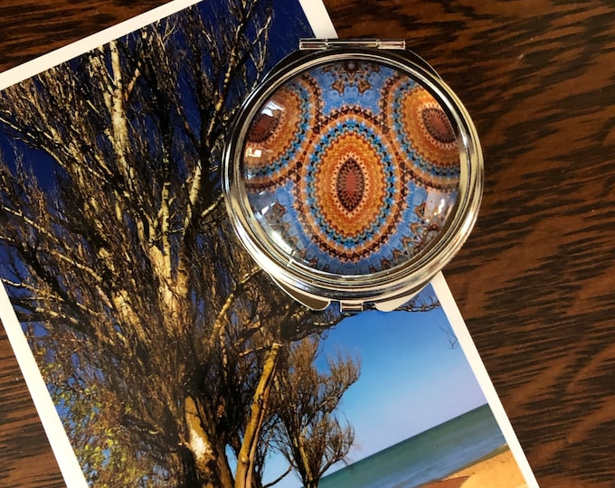 Compact Mirror with Vivid, Original Design Set on Steel Base, Functional and Fabulous