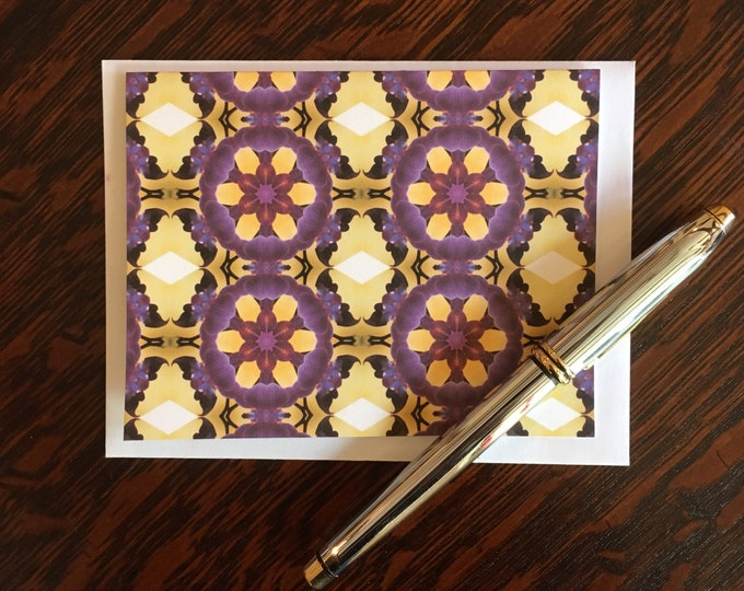 Note Cards & Envelopes, Handcrafted Set of 8, Original Design from Photo of Purple Orchids