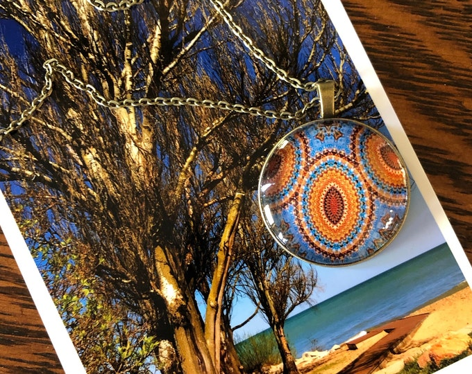 """Stunning Glass Pendants on 18"""" Bronze Necklaces, Gift Ready in Black Velvet Bag"""