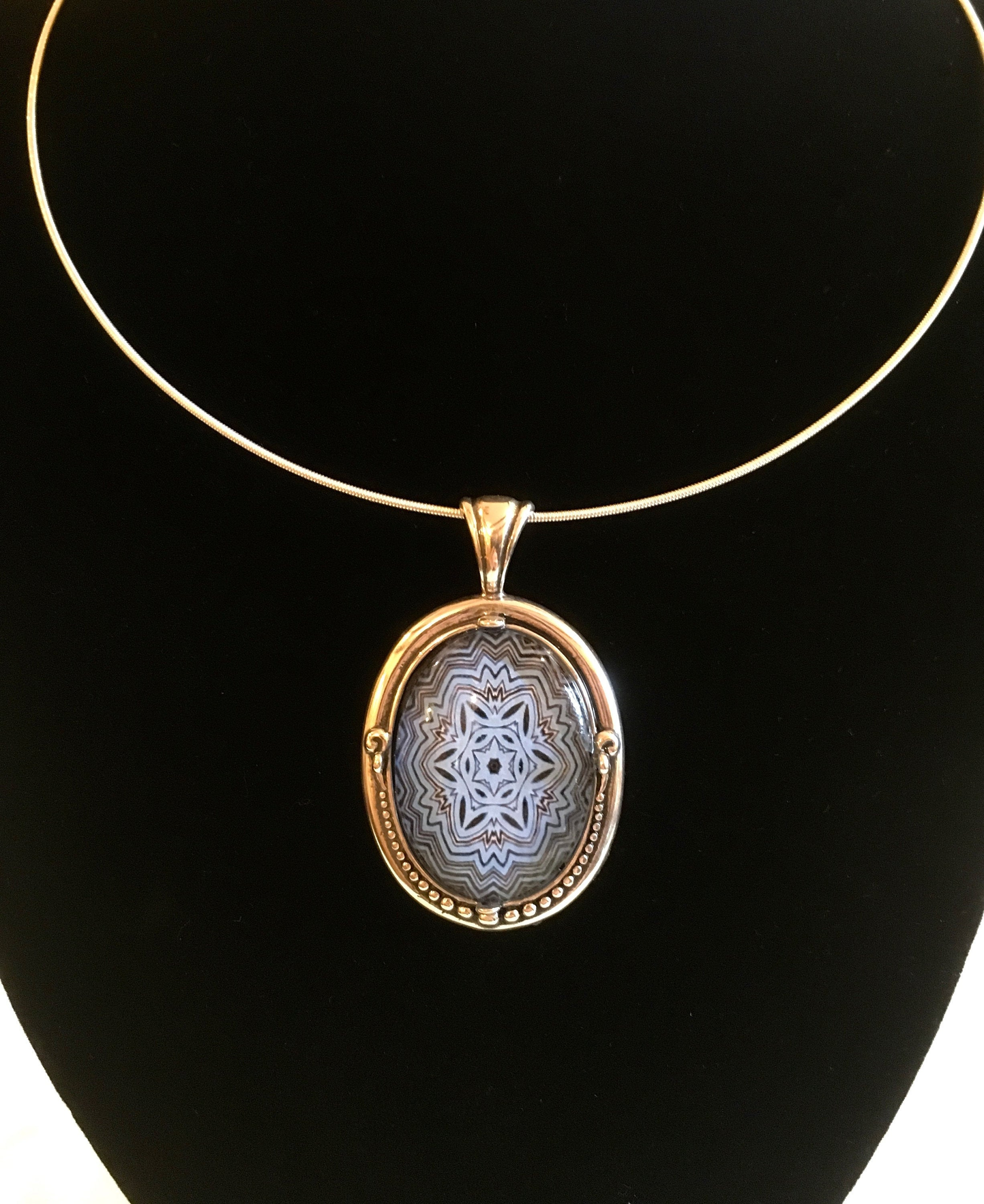 Glass Pendant Beaded Sterling Silver Setting Statement