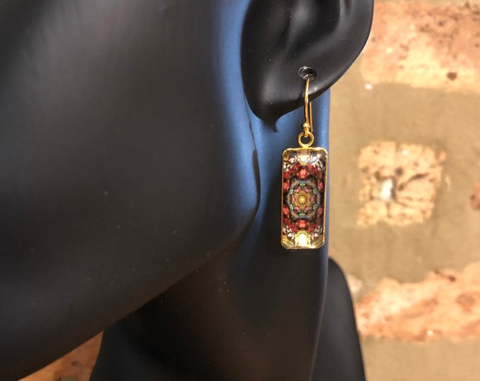 Stunning, Rectangular Dangle Earrings with Vibrant Original Design Inspired by Lisbon Street Art, Glass on Gold-plated Stainless Steel Base