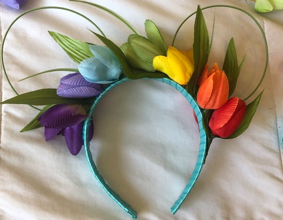 Minnie floral wire ears headband 2-in-1 Teal//Pink Princess Mouse Ears headband