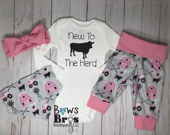 1f93f072 New to the Herd Baby Girl Outfit Set, Barn Tractor Cows Outfit, Country  Farmer, Hospital Coming Home Outfit, Girl Outfit Set, Farm Girl