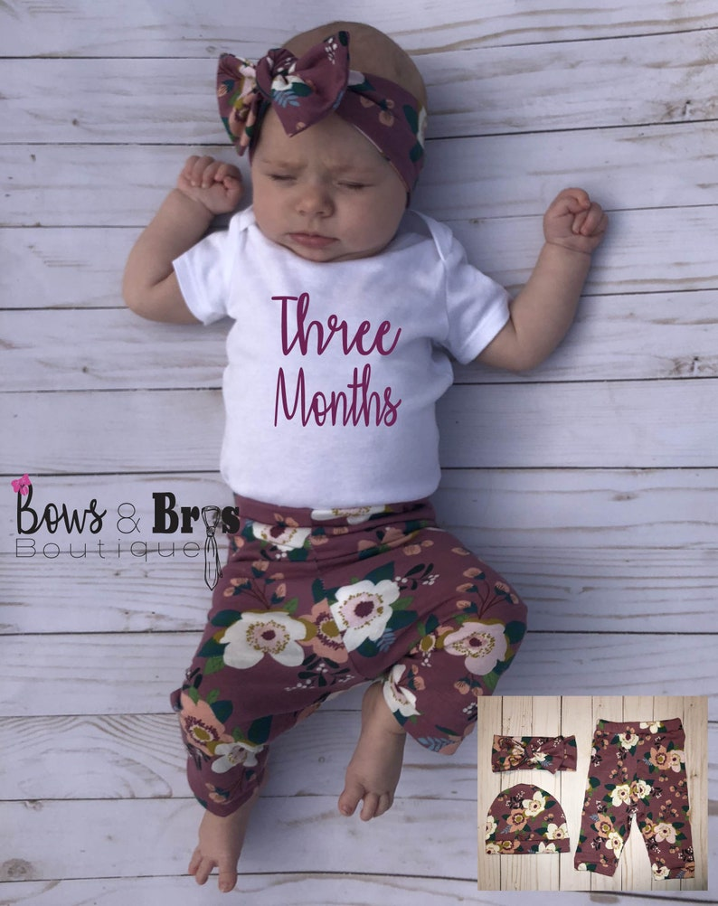 Coming Home Outfit Girl Outfit Girl Baby Shower Gift Newborn Outfit Floral Baby Leggings Monthly Onesie