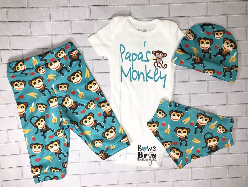 Monkey Bananas hospital outfit set Coming Home Outfit Set Papa/'s Monkey Baby Boy Outfit Set Newborn Boy Outfit Father/'s Day Gift