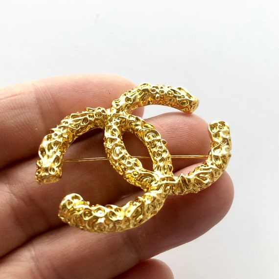 Chanel Vintage Cc Signature Brooch by Etsy