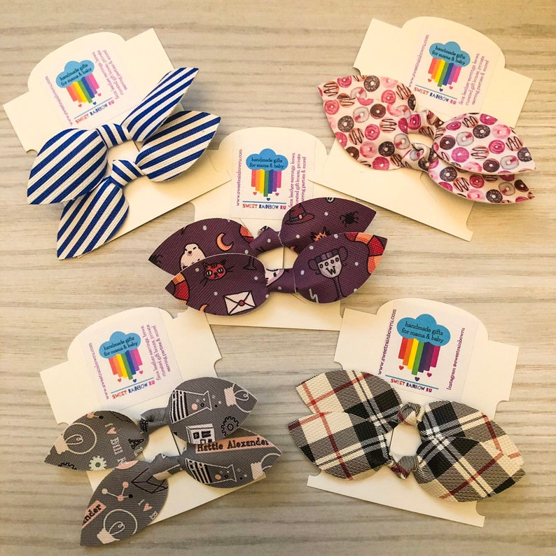 Faux Leather Nylon Headband Alligator Clip Adult Bow Tie Baby Toddler Clip On Custom Bow