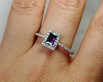 8d3c9eeea3 Mystic topaz emerald cut rainbow halo cubic zirconia engagement sterling  silver ring size 10