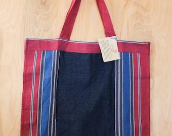 Color Block Bag - Foldable Shopping Bag - Food Shopping Bag - Handmade Tote Bag - Sustainable Tote Bag